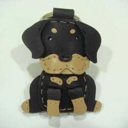 Martin the Rottweiler leather keychain ( Black )
