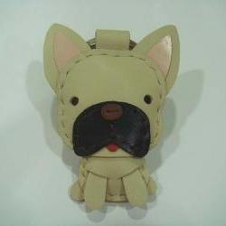 Mask the French Bull Dog Leather Charm ( Light Brown )