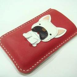 CoCo the French Bull Dog iPhone leather case ( Red )