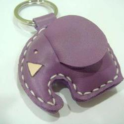 Laura the Elephant Leather Charm ( Light Purple )