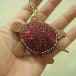 Winny the Turtle Leather Charm ( Red Lizard Printed )