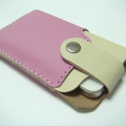 Leatherprince Handmade iPhone 4 leather case ( Pink / Creamy )