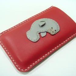 Layla the Manatee iPhone Leather case ( Red and Grey )