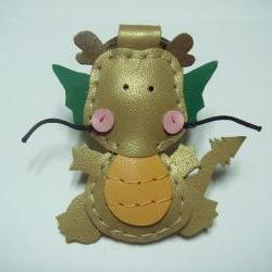 Puff the Magic Dragon leather charm ( Gold )