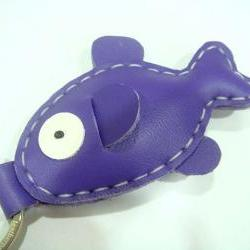 Karen the Fish Leather Keychain ( Bright Purple )
