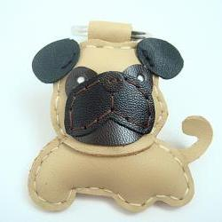 Bobby the Pug Leather Keychain ( Light Brown )