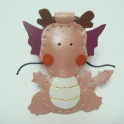 Puff the Magic Dragon leather keychain ( Metallic Pink )