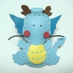 Puff the Magic Dragon leather keychain ( Light Blue )